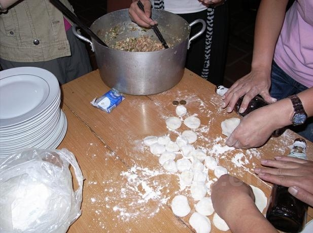 One family were making dumplings together on New Year's Eve, which was a very happy thing for a family.